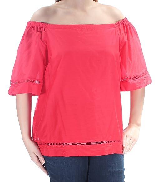 a86d1c9200926e LAUREN RALPH LAUREN Womens Karleigh Silk Blend Off The Shoulder Blouse Red S