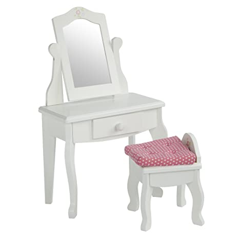 Olivia\u0027s Little World - Princess Vanity Table and Chair Set with Rotatable Mirror (White)  sc 1 st  Amazon.com : princess vanity table and chair set - pezcame.com