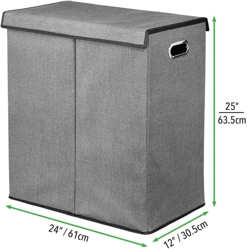 Cesto plegable para colada de dise/ño ba/ño o dormitorio Con tapa y asas Bolsa para guardar ropa en el lavadero mDesign Juego de 2 cestos para ropa sucia en polipropileno transpirable gris