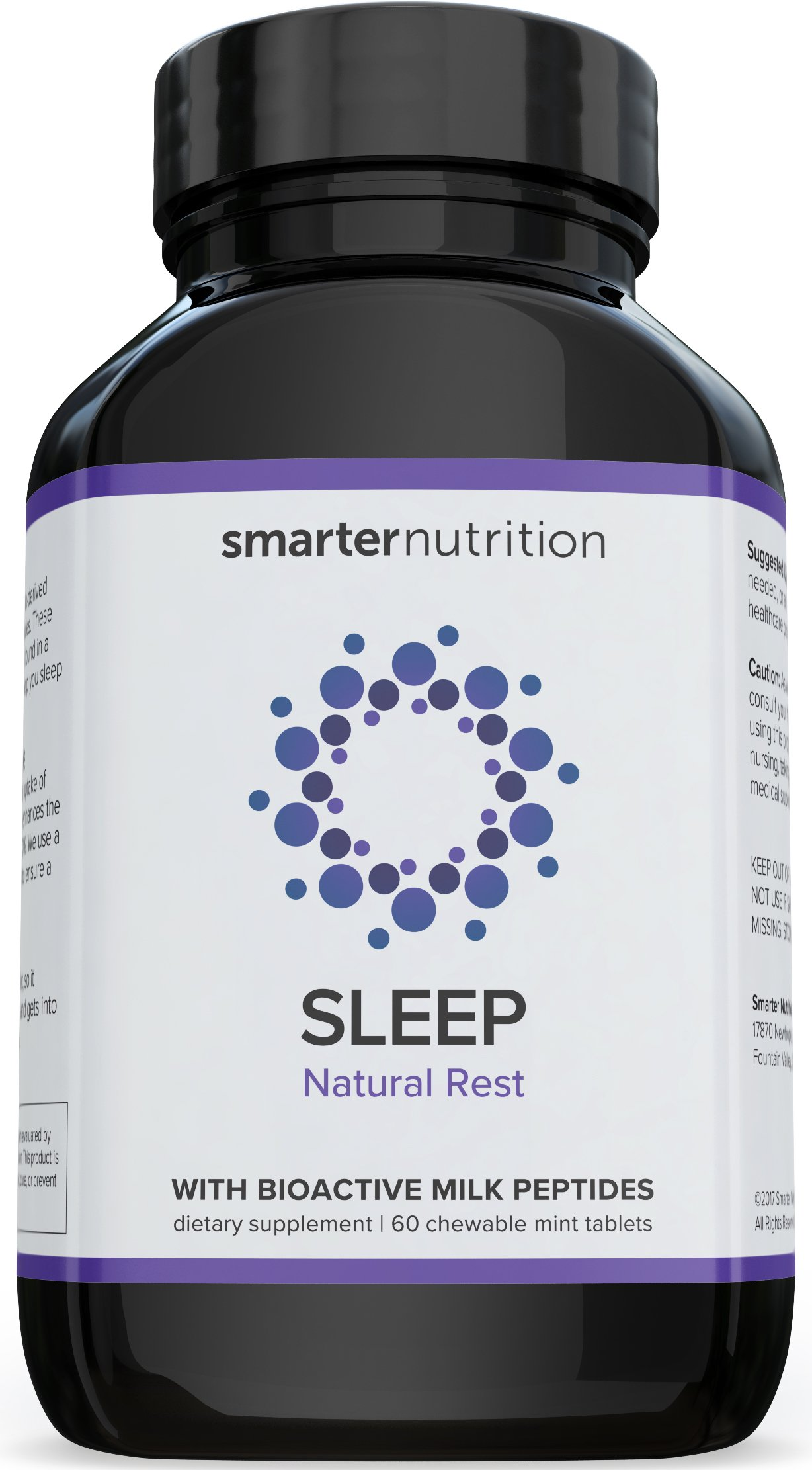Smarter Sleep, Nighttime Sleep Aid with Bioactive Milk Peptides, 60 Chewable Mint Tablets (1 Month Supply) (1) by Smarter Nutrition (Image #1)