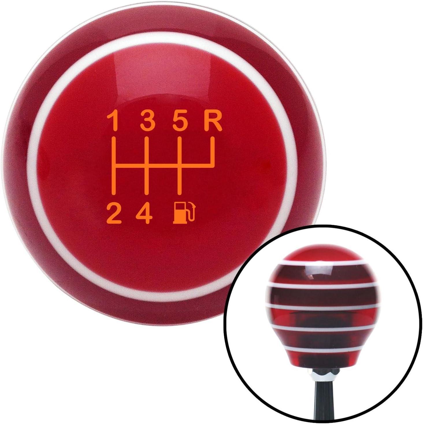 Orange 6 Speed Shift Pattern - Gas 26 Red Stripe with M16 x 1.5 Insert American Shifter 274386 Shift Knob