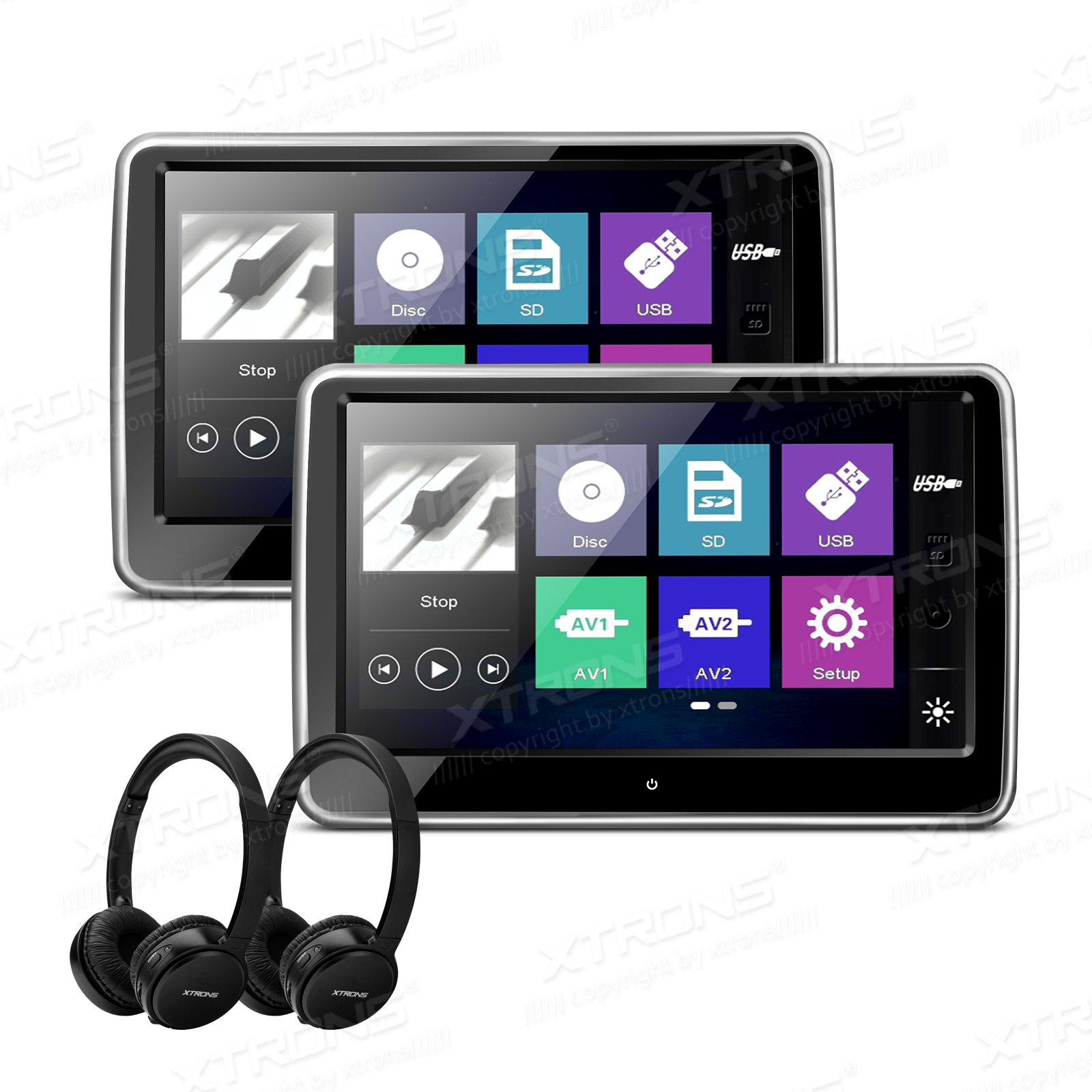 XTRONS 2 x 10.1 Inch Pair HD Digital TFT Capacitive Touch Screen Car Headrest DVD Player 1080P Video New IR Headphones