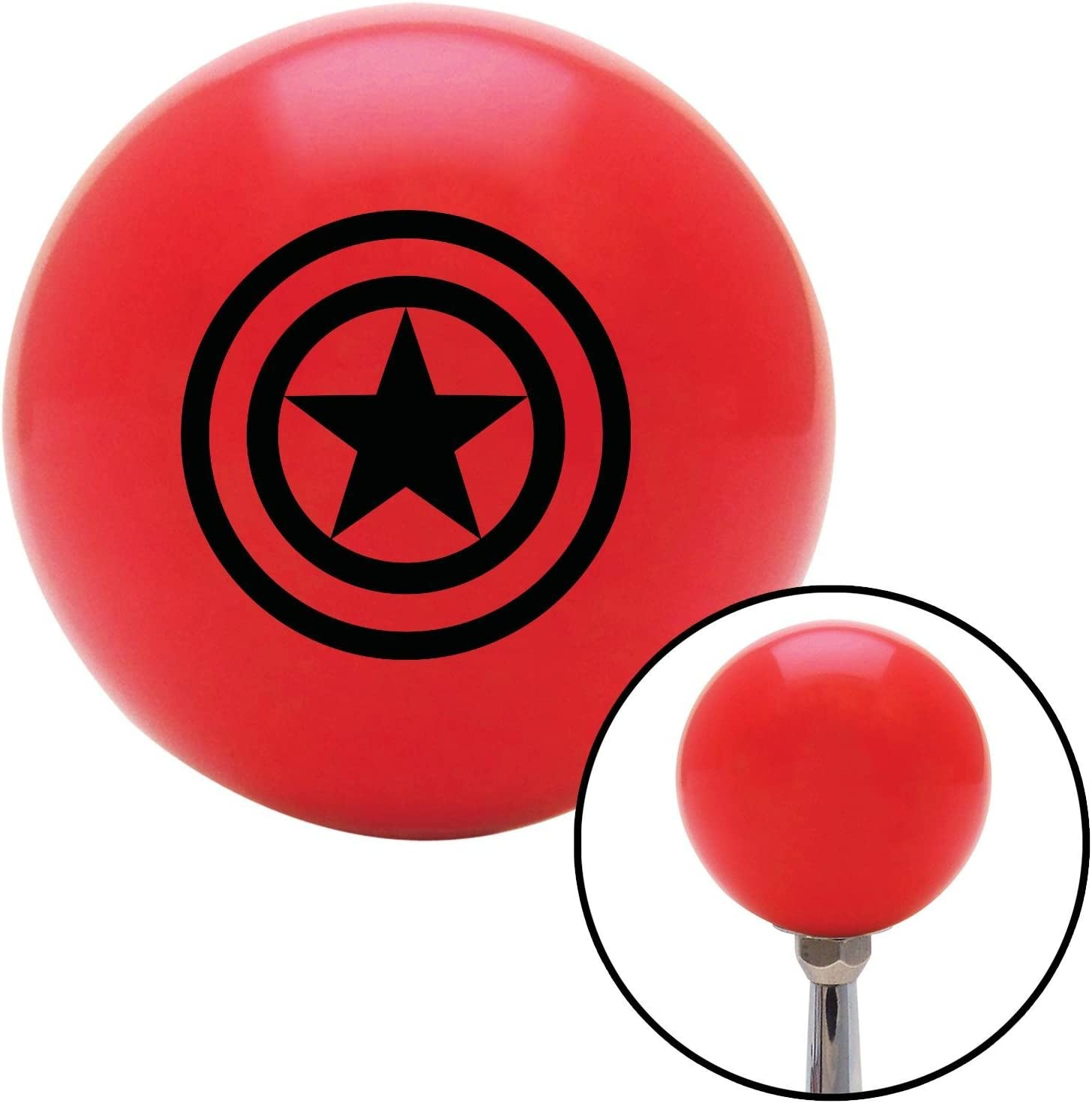 American Shifter 101437 Red Shift Knob with M16 x 1.5 Insert Black Star w// 2 Circles