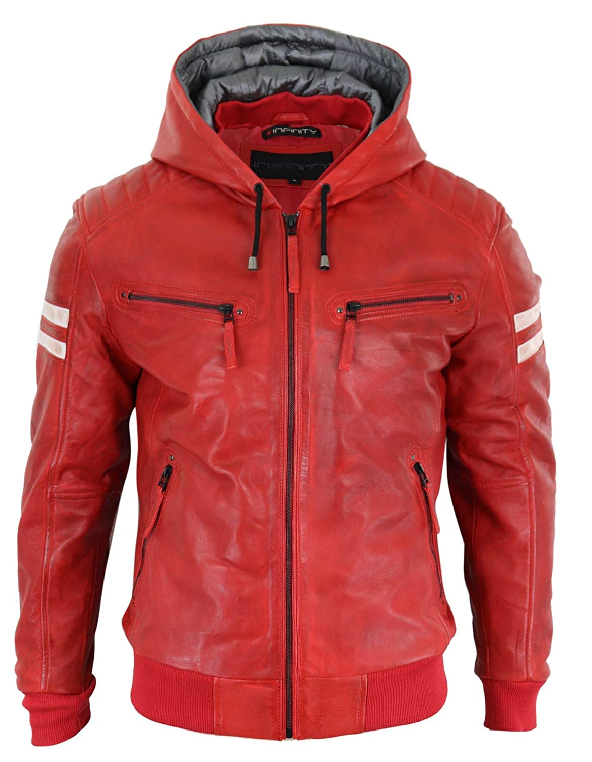 Mens Black Hood Real Leather Bomber Jacket Red Stripes Quilted Slim Fit Casual aviatrix