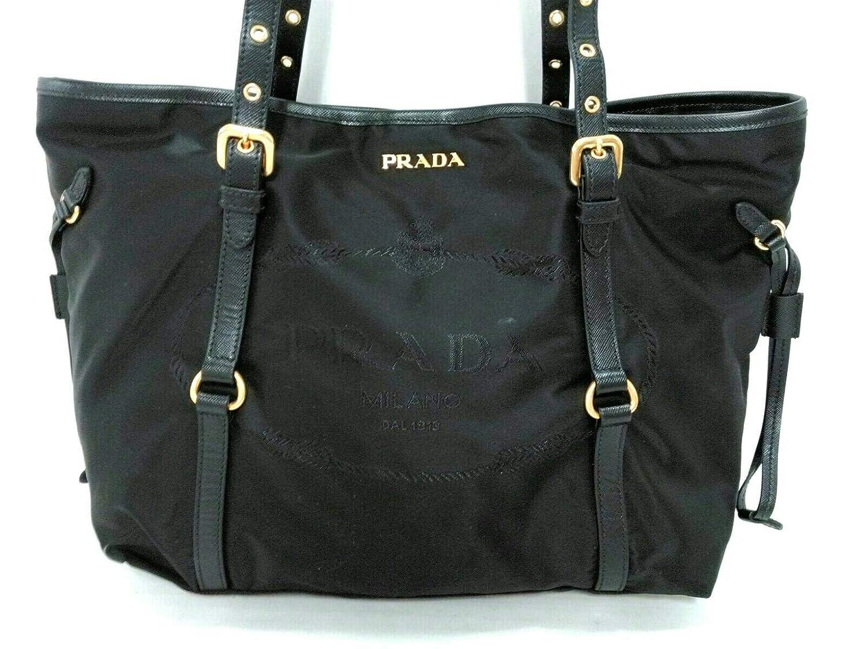 (プラダ)PRADA トートバッグ ロゴジャガード 黒 BR4252 【中古】 B07K8LWXY7