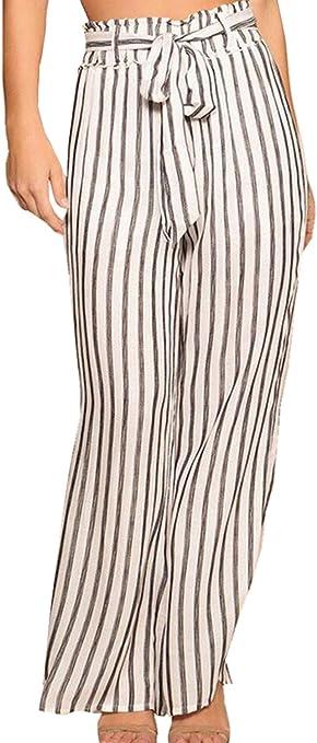 La Mujer Casual Pantalones De Pierna Ancha De Lino De Rayas De Cintura Alta Pantalones Sueltos Con Cinturon Amazon Es Ropa Y Accesorios