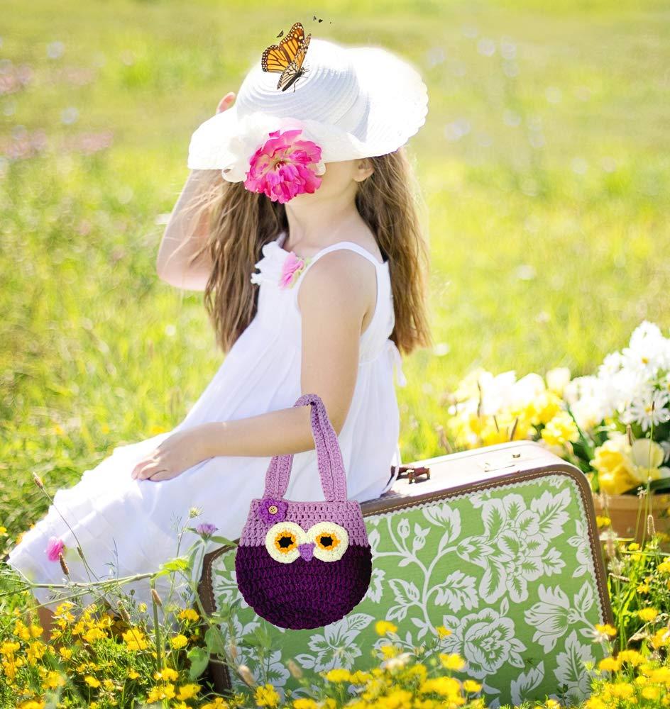 Life Space Cute Happy Owl Mini Purse / Handbag, Nature Soft Cotton/Milk Fiber, Crochet, Handmade - Great Special Present for 2,3,4,5,6 Year Preschool Girls (purple) by Life Space (Image #3)