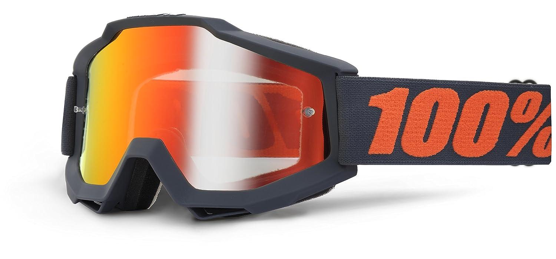 100 /% PROZENT ACCURI MATTE GUNMETAL BRILLE GOGGLE 2014 MOTOCROSS CROSS MTB QUAD ATV SUPERMOTO Rot Verspiegelt