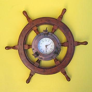 Amazon.com: Wood Ship Wheel Wall Clock 24\