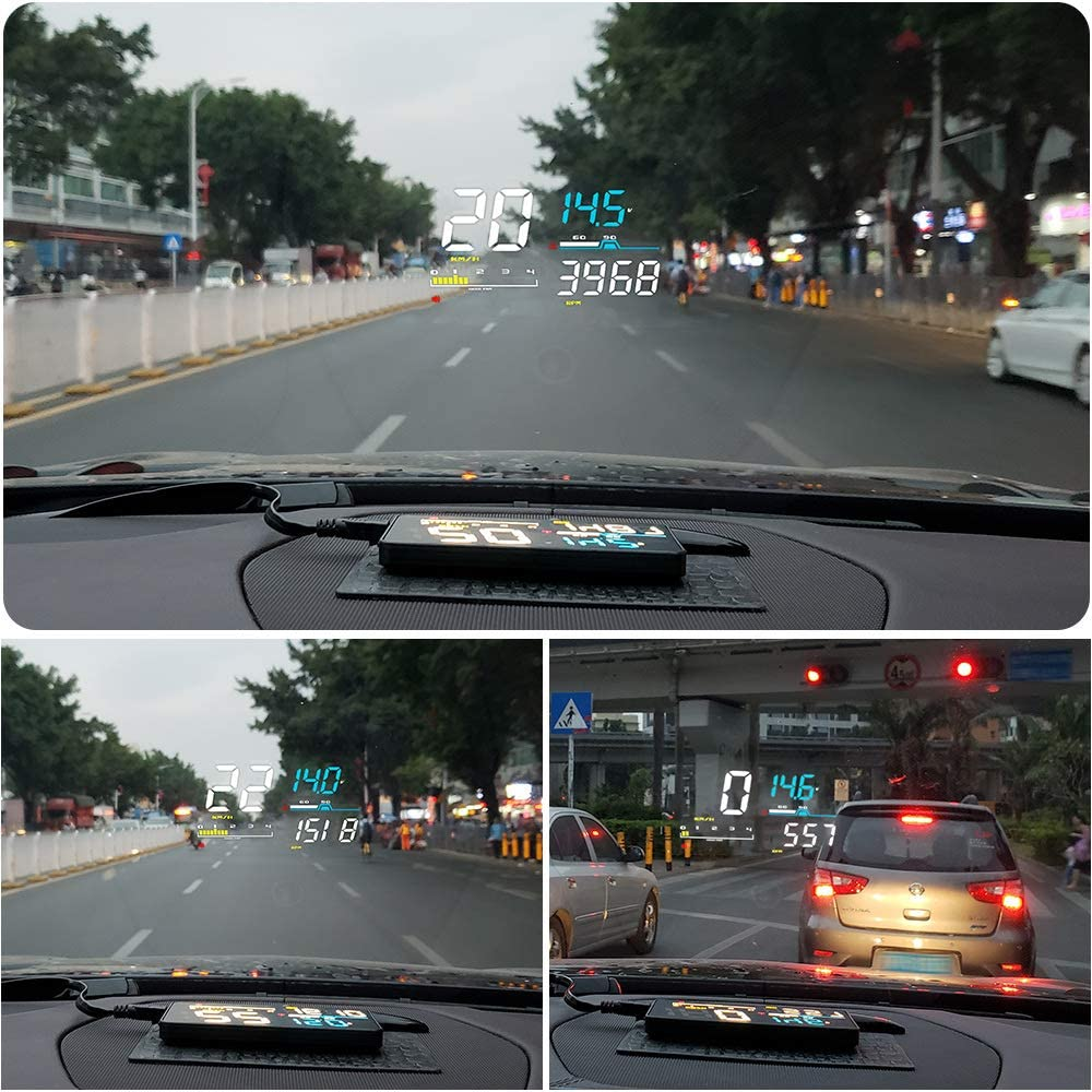 "BLAKAYA Head-Up Display Car HUD 5/"" Windshield Screen Projector with OBD II//EU OBD Interface Plug"