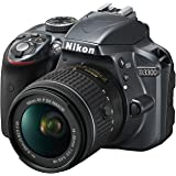 "Nikon D3300 + Nikkor AF-P 18/55VR Fotocamera Reflex Digitale, 24.2 Megapixel, LCD 3"", SD 8 GB, 300x Premium Lexar, Grigio [Nital Card: 4 Anni di Garanzia]"