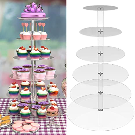 Amazon Com 6 Tier Round Cupcake Stand Stacked Party Clear Acrylic