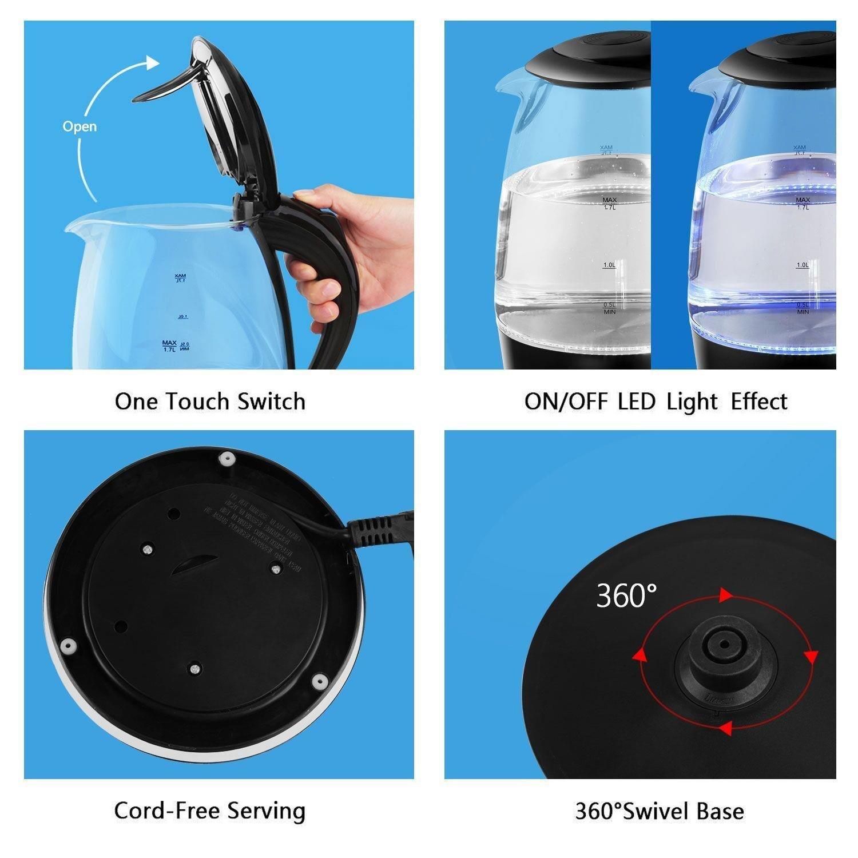 /… Wasseraufbereiter Glas Wasserkocher Wasserkessel 1,7 Liter 2000 Watt Glaswasserkocher Teekocher Kettle LED Innenbeleuchtung Schwarz