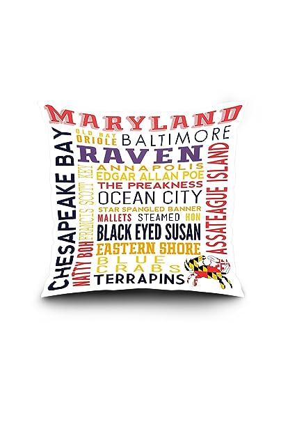 Amazon.com: Maryland - Typography (20x20 Spun Polyester ...
