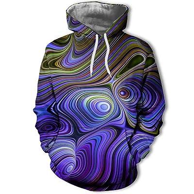 846 Unisex otoño Europa y América Tendencia Colorido Irregular gráfico impresión Digital suéter de Moda para Hombres, Sudadera con Capucha Sudadera otoño, una Pieza, Azul, XL: Ropa y accesorios