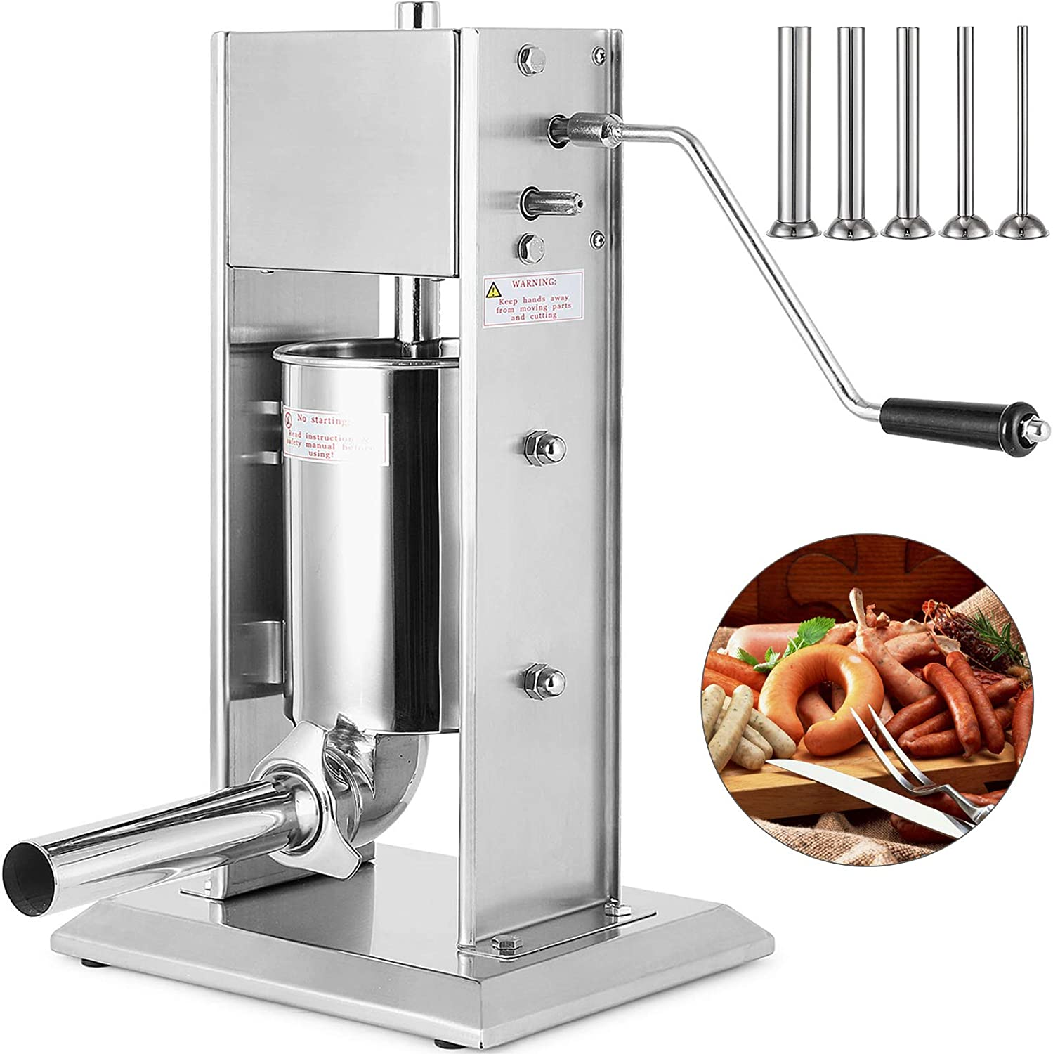 Happybuy Sausage Filler 5L 11LB Vertical Meat Stuffer Commercial Stainless Steel with 4 Filling Funnels, Manual, Silver