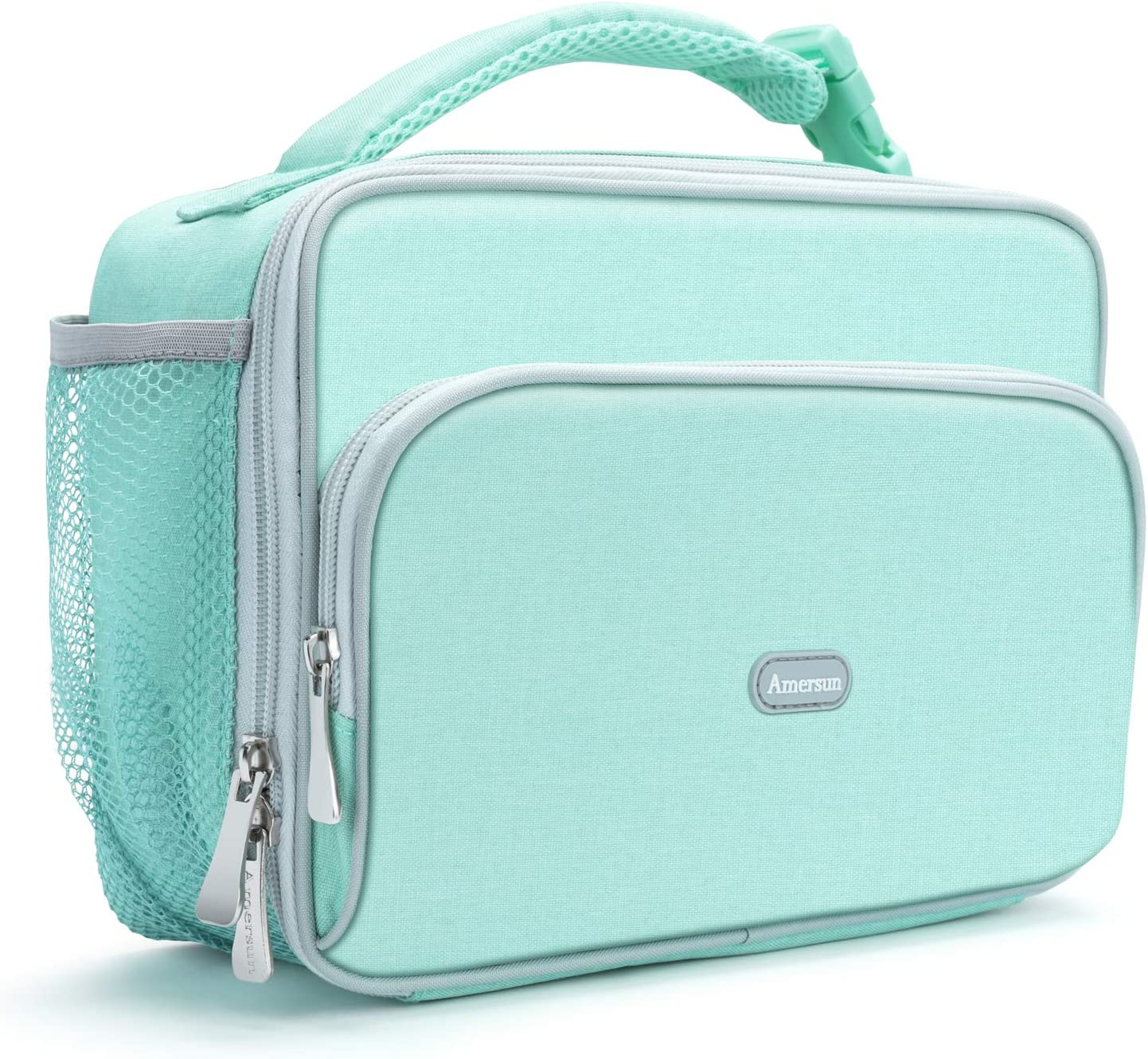 Amersun Lunch Box for Women,Sturdy Insulated Lunch Bag with Padded Liner Keep Food Warm Cold for Long Time,Water-resistant Thermal Lunch Cooler for Girls Adult Travel Picnic Work(2 Pockets,Light Blue)