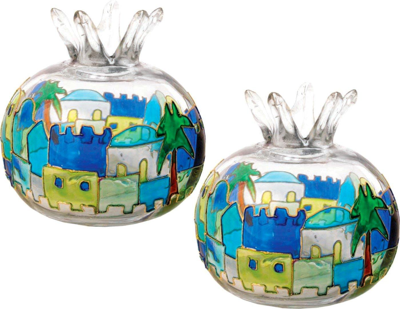 2 in lot Jerusalem Pomegranate Shabbat Candles Holder Hand Painted Glass Candlesticks Judaica Gift Green