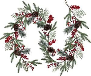 Artificial Christmas Pine Garland with Spruce Cypress Pinecones Red Berry Garland Winter Greenery Garland for Holiday Season Mantel Fireplace Table Runner Centerpiece Decoration 6.6 feet