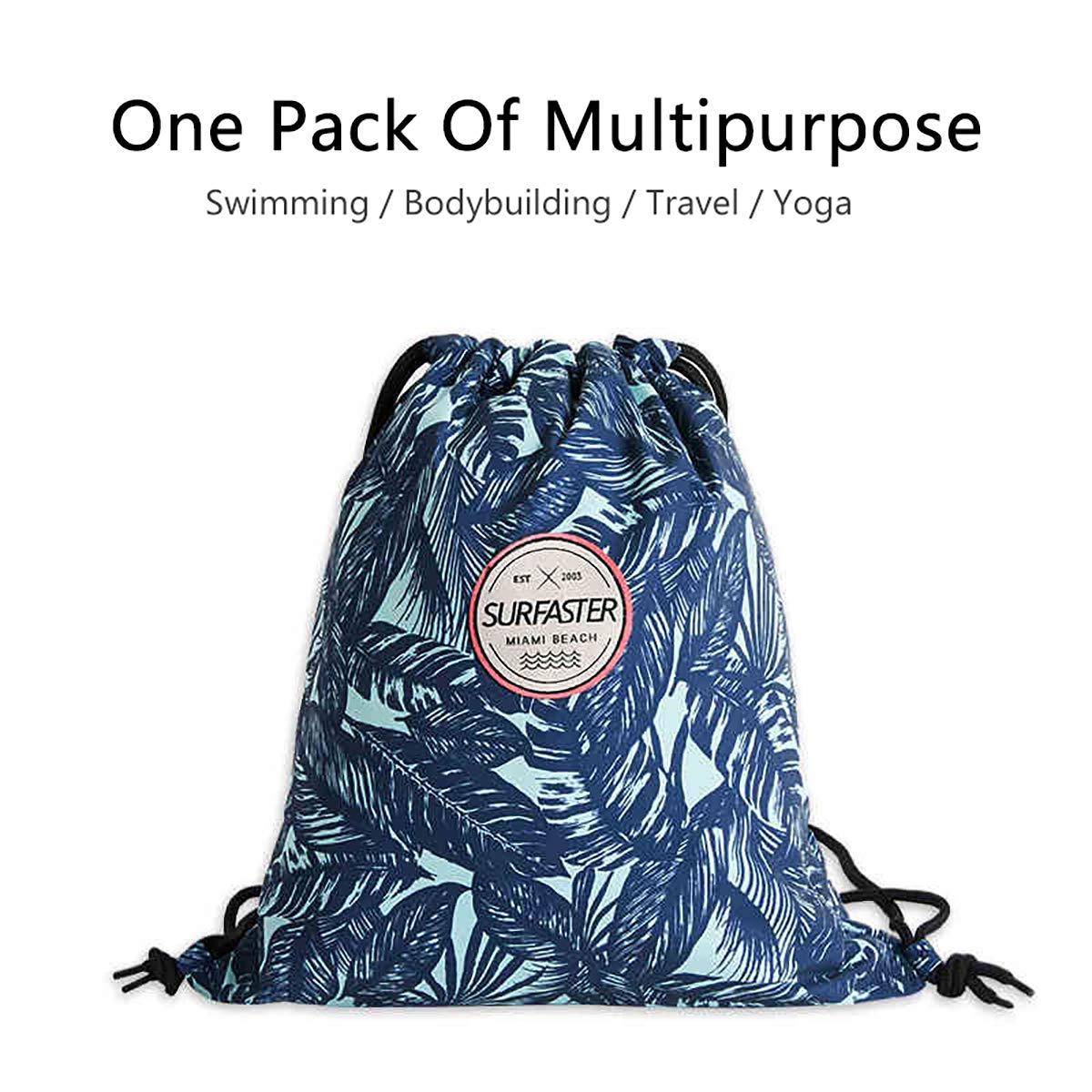Drawstring Backpack Bags Gym Sports Cinch Sack Casual Bag-Waterproof Polyester Dry and Wet Partition Gymsack Shoulder Bag