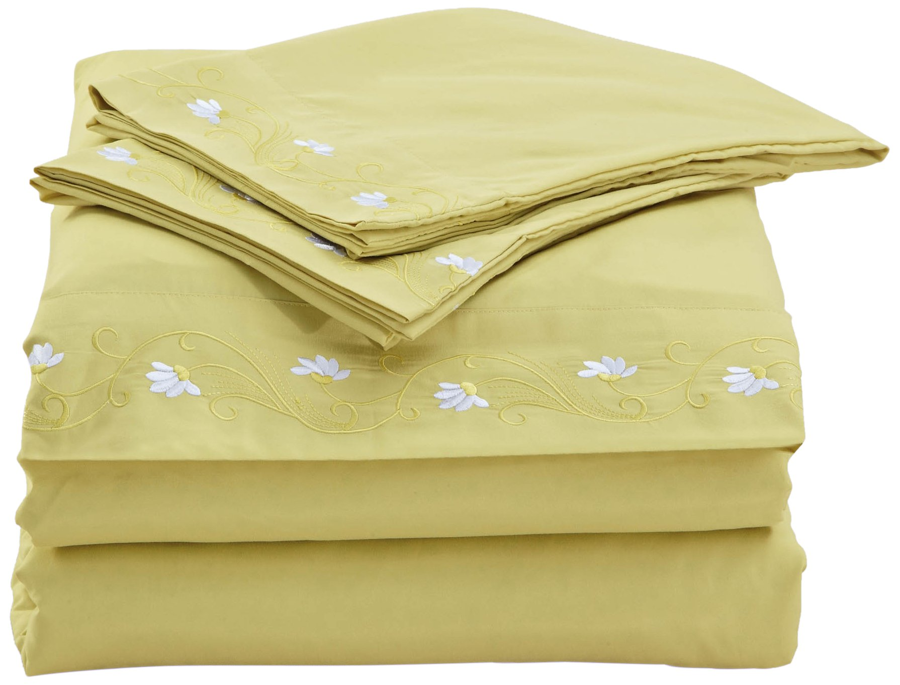 Home Simplicity 90GSM Embroidery Sheet Set, Queen, Chartreuse - Contains one flat sheet, one fitted sheet and two standard pillow cases Fits up to 17 inch deep mattress! Machine washable and tumble dry - sheet-sets, bedroom-sheets-comforters, bedroom - 710WhefDXDL -