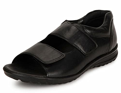 a31d4856adb9 DE SCALZO Soft Leather Orthopedic and Diabetic Comfort Sandals for Men  Black Leather  Buy Online at Low Prices in India - Amazon.in