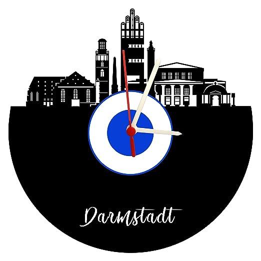 Stuttgart Skyline - Reloj de Pared (Mecanismo de Cuarzo), diseño de Ciudad intestinal, Color Blanco y Azul: Amazon.es: Relojes