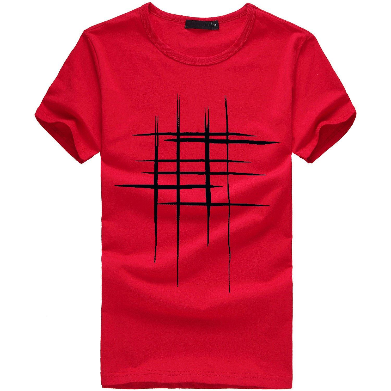 Color S/ólido Ropa Deportiva De Verano con Capucha Top De Camisa L/ínea Impresa Personalidad C/ómoda Cuello Rojoondo Carta De Los Hombres De Manga Corta Moda De Verano Camiseta