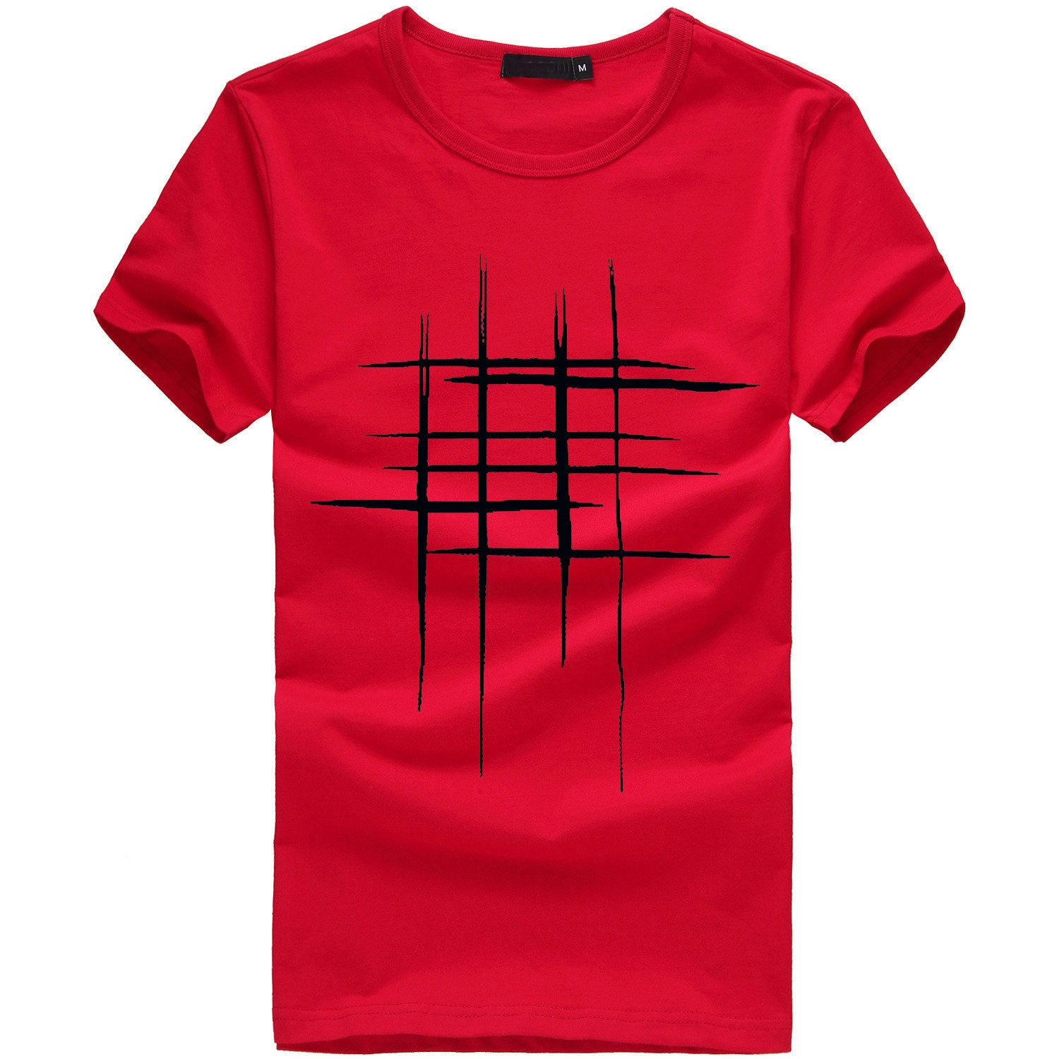 Sunmoot T Shirt for Men Boys Casual Printed Slim Fit Short Sleeve Top Spring Summer Blouse Red