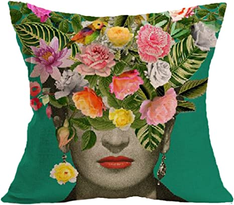 Amazon Com Joyi Frida Kahlo Self Portrait Cotton Linen Throw Pillow Case Car Cushion Cover 18 X18 Home Kitchen
