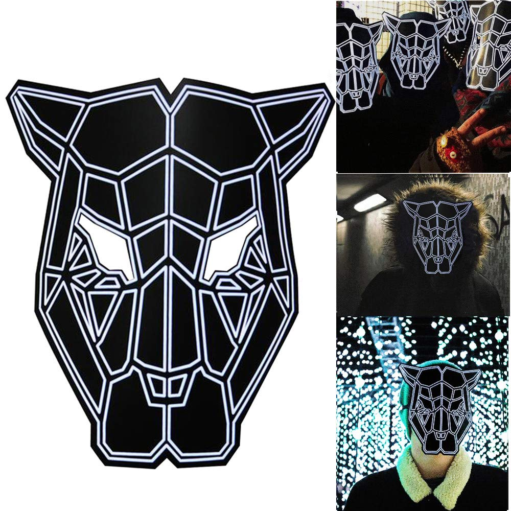 Loneflash Halloween LED Mask,Sound Reactive Mask Halloween Cosplay Glow Scary Dance Rave Light Up Adjustable Mask Rave for Festival Parties