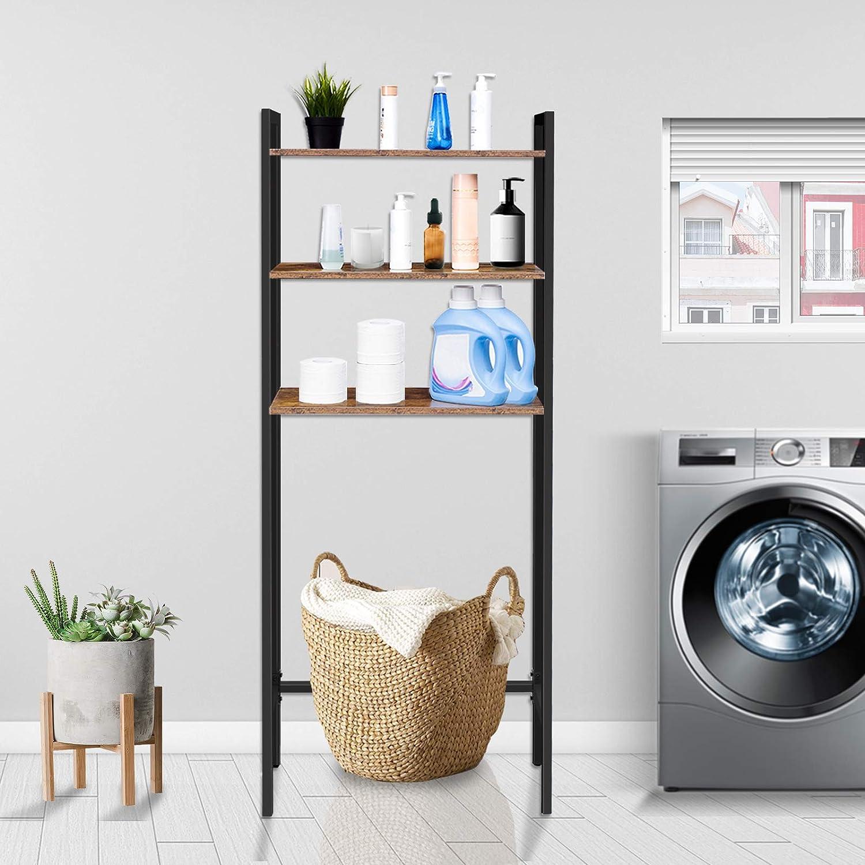 leicht zu montieren Waschmaschinenregal Dunkelbraun EBF41TS01 platzsparend industrielles Multifunktionsregal im Retro-Stil HOOBRO Toilettenregal Badezimmerregal mit 3 Ablagen