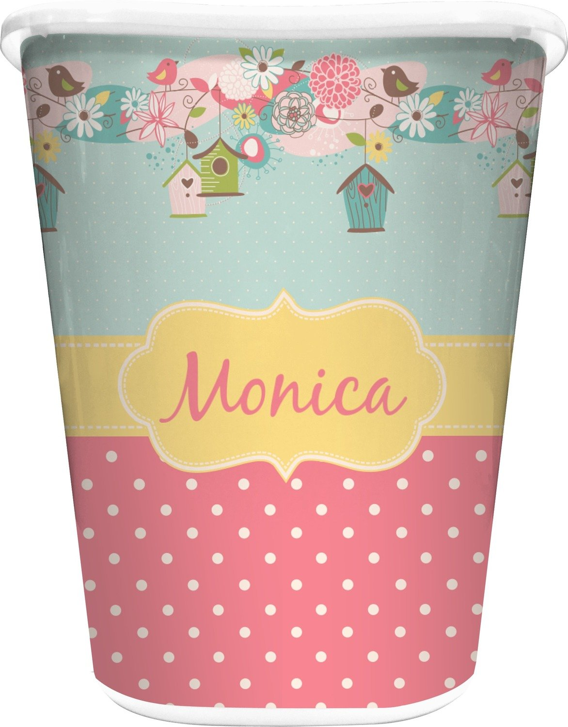 RNK Shops Easter Birdhouses Waste Basket - Double Sided (White) (Personalized) by RNK Shops (Image #1)