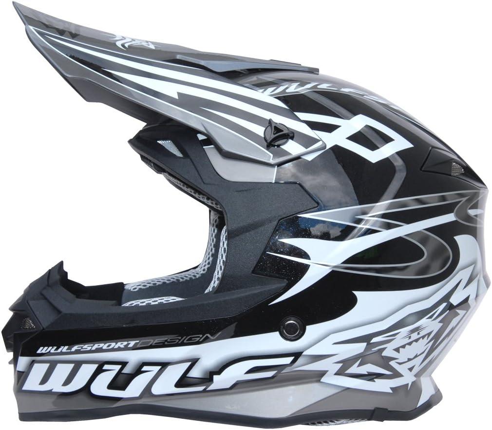 Wulfsport Adult Sceptre Motorbike Helmet /& Wulf Adult Motocross Goggles /& Gloves 57-58cm White M