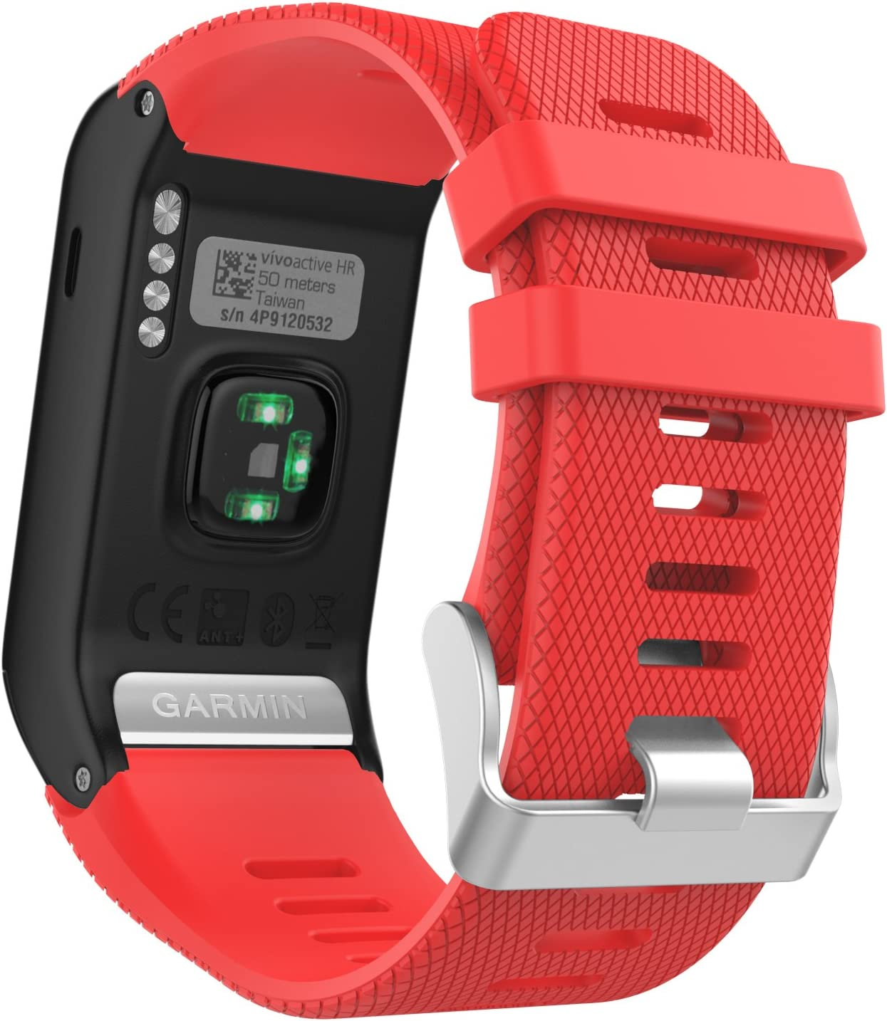 MoKo Garmin Vivoactive HR Correa de Reloj, Suave Silicona Reemplazo Watch Band para Garmin Vivoactive HR Deporte GPS Smart Watch con Pins y Herramientas Adaptador - Rojo