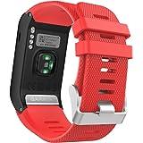 美国MoKo GARMIN 佳明 Vivoactive HR手表表带 手环腕带 适配Garmin vivoactive HR光学心率时尚腕表运动软硅胶表带 红色