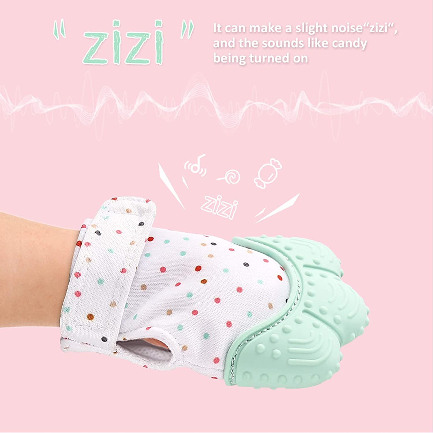 Beauty Nymph Quarlz Pink Food-Grade Silicone Teething Baby Gloves Massage Gums Sounded Kean Baby Teether Mitts