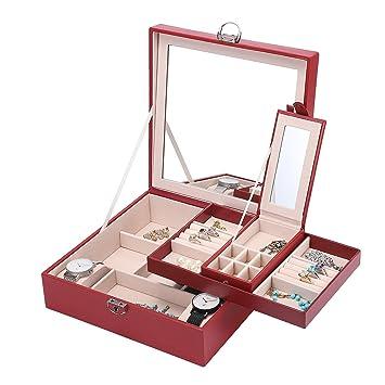 Meshela Joyero organizador de con espejo,PU Caja Almacenamiento de Joyas de pendientes, anillos, pulseras, collares, relojes, regalo del para las ...