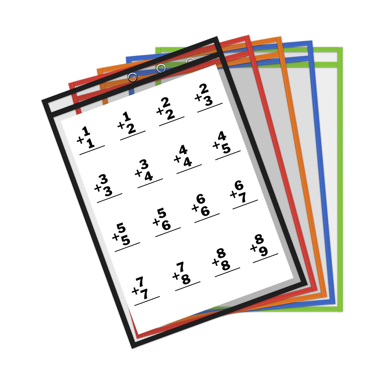Thornton's Office Supplies Reusable Dry Erase Pockets, 8.5 x 11 Inches, Assorted Colors, 30 Pockets per Pack (61370) TOS-61370