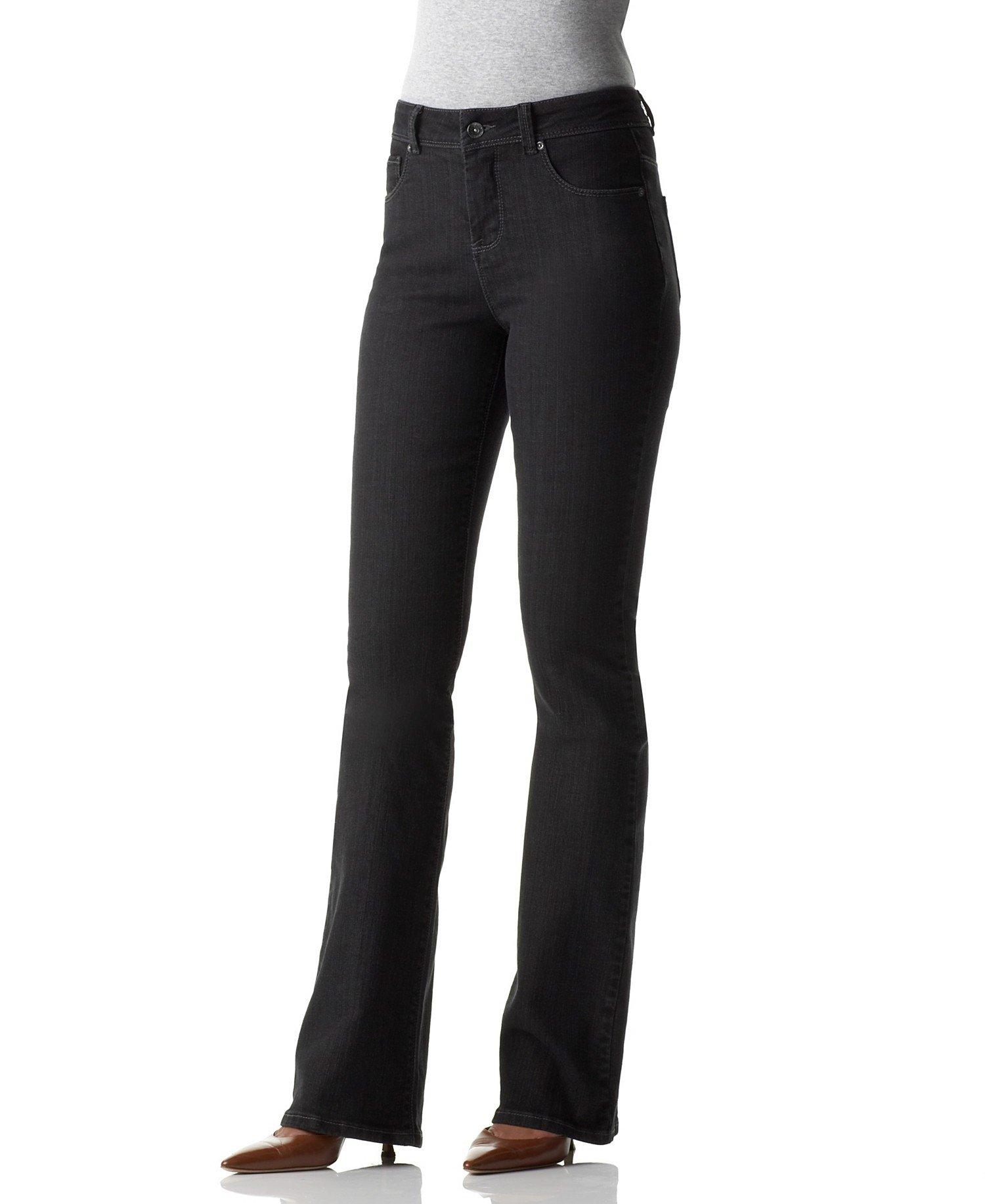Style&Co Women's Tummy Control Boot Cut Jeans 4 Short Black Tint