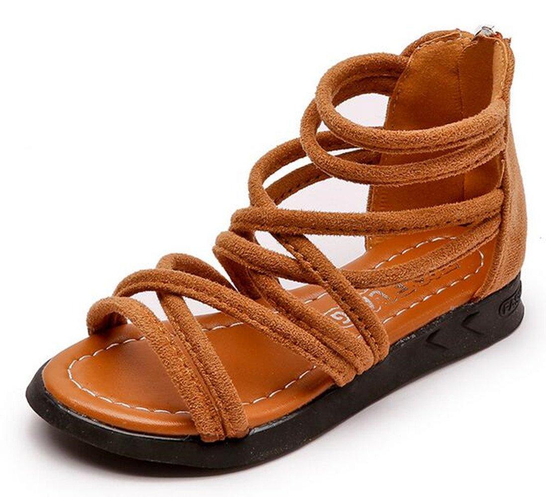 Bumud Girls Gladiator Ankle-Strap Back Zipper Sandal Outdoor Summer Shoes(Toddler/Little Kid) (10 M US Toddler, Brown)
