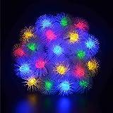 Xcellent Global Striscia Luminosa con 40 Luci LED Natalizie Colorate a Forma di Palla di Pelo Alimentate a Batteria per Giardini, Cortili, Alberi di Natale, Matrimoni, Feste, Interni I-LD077