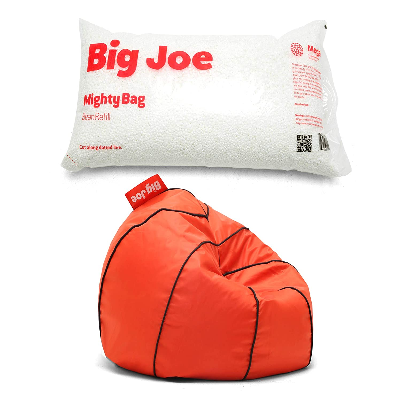 Big Joe Sports Bean Bag Chair in Basketball Bundle Megahh Bean Refill 100-Liter in Single Pack