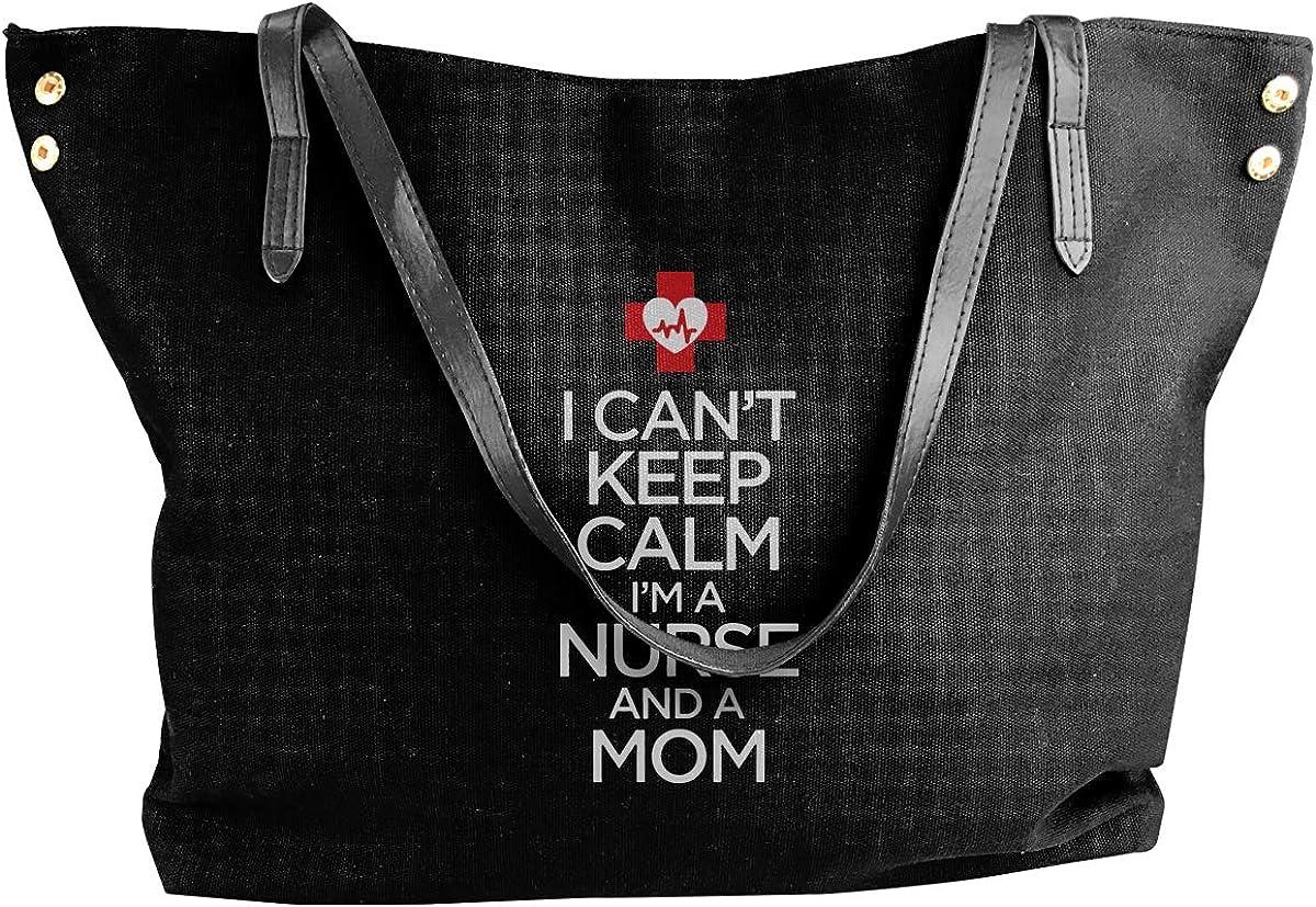 Im A Nurse And A Mom Canvas Shoulder Bags HandbagDaily For Women Black I Cant Keep Calm