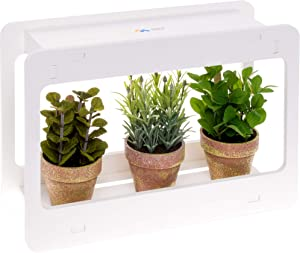 Mindful Design Narrow Spectrum Mini Window LED Indoor Herb Garden - Red and Blue LEDs to Encourage Better Stem, Leaf, and Flower Growth for Professional Results with Herbs, Succulents, and Vegetables
