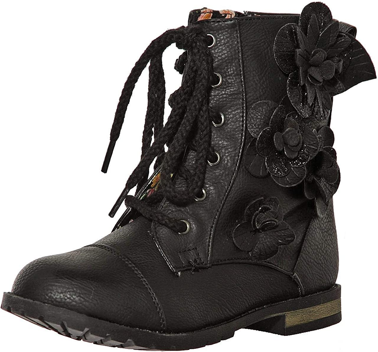 shoewhatever New! Military Combat Boot Fold-Over Cuff with Zipper for Girls