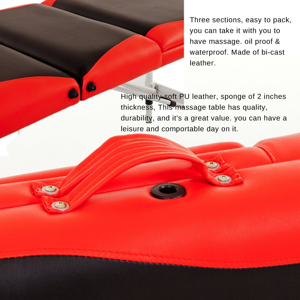 Merax WF015763JAA Aluminium 3 Section Portable Folding Massage Table Facial SPA Tattoo Bed by Merax (Image #4)