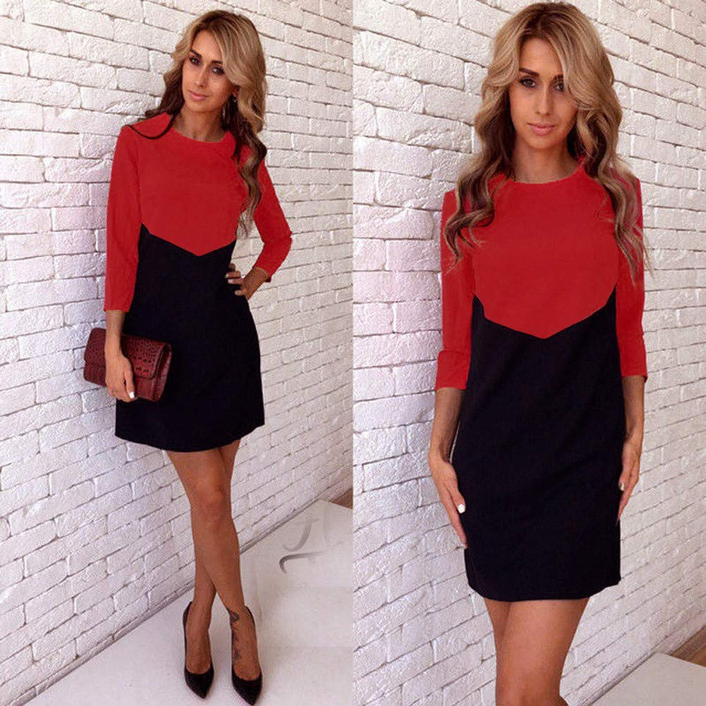 Women Fashion Straight Ladies Bodycon Dresses Party Evening Mini Patchwork Dress
