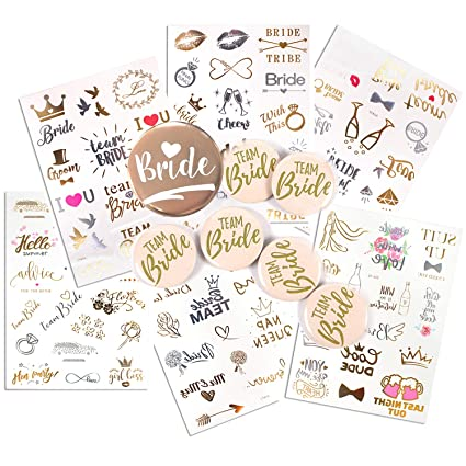 Wedding & Bride Hen Party Accessories Bride Tattoos Hen Party Tattoos 20 Pack Bachelor Party Team Bride Tattoos for Hen Party Temporary Tattoos