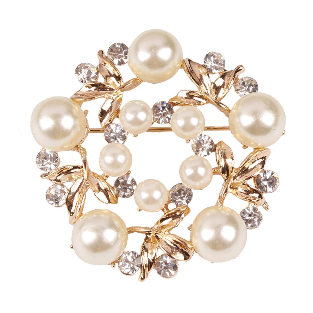 YiYi Operation Gold Crystal Pearl Brooches Pins Wreath Bridal YiYi Operation Manufacturer NO.182